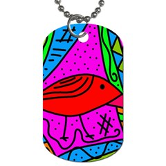 Red Bird Dog Tag (one Side) by Valentinaart