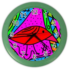 Red Bird Color Wall Clocks by Valentinaart