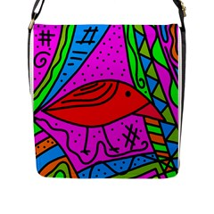 Red Bird Flap Messenger Bag (l)  by Valentinaart