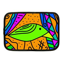 Green Bird Netbook Case (medium)  by Valentinaart
