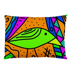 Green Bird Pillow Case (two Sides) by Valentinaart