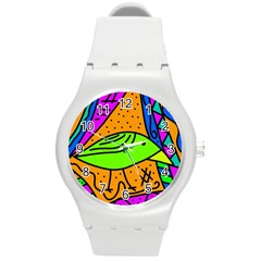 Green Bird Round Plastic Sport Watch (m) by Valentinaart