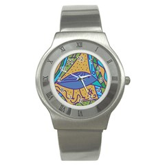 Blue Bird Stainless Steel Watch by Valentinaart