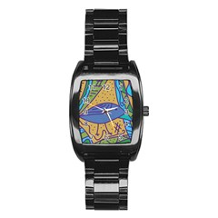 Blue Bird Stainless Steel Barrel Watch by Valentinaart