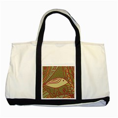 Brown Bird Two Tone Tote Bag by Valentinaart
