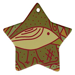 Brown Bird Star Ornament (two Sides)  by Valentinaart