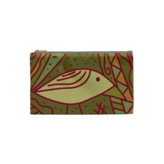 Brown Bird Cosmetic Bag (small)  by Valentinaart