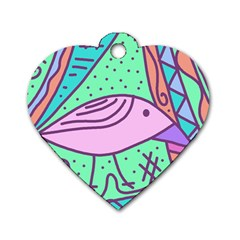 Pink Pastel Bird Dog Tag Heart (two Sides) by Valentinaart