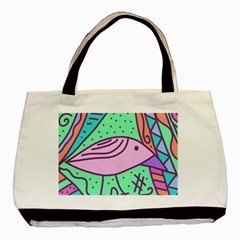 Pink Pastel Bird Basic Tote Bag (two Sides) by Valentinaart