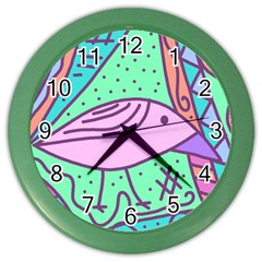 Pink Pastel Bird Color Wall Clocks by Valentinaart
