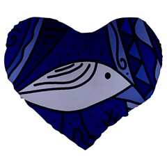 Blue Bird Large 19  Premium Flano Heart Shape Cushions by Valentinaart