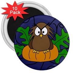 Halloween Owl And Pumpkin 3  Magnets (10 Pack)  by Valentinaart