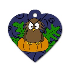 Halloween Owl And Pumpkin Dog Tag Heart (two Sides) by Valentinaart
