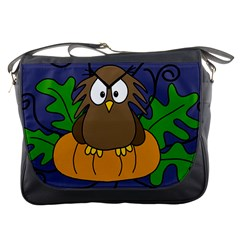 Halloween Owl And Pumpkin Messenger Bags by Valentinaart