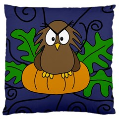 Halloween Owl And Pumpkin Large Cushion Case (one Side) by Valentinaart