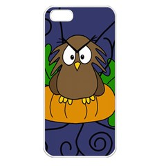 Halloween Owl And Pumpkin Apple Iphone 5 Seamless Case (white) by Valentinaart