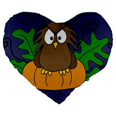 Halloween Owl And Pumpkin Large 19  Premium Heart Shape Cushions by Valentinaart