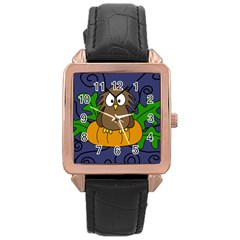 Halloween Owl And Pumpkin Rose Gold Leather Watch  by Valentinaart