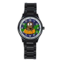 Halloween Owl And Pumpkin Stainless Steel Round Watch by Valentinaart