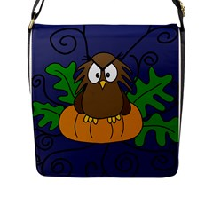 Halloween Owl And Pumpkin Flap Messenger Bag (l)  by Valentinaart
