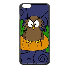 Halloween Owl And Pumpkin Apple Iphone 6 Plus/6s Plus Black Enamel Case by Valentinaart