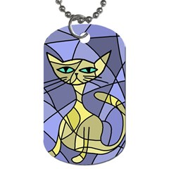 Artistic Cat   Yellow Dog Tag (two Sides) by Valentinaart