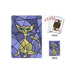 Artistic Cat   Yellow Playing Cards (mini)  by Valentinaart