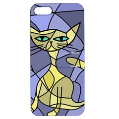 Artistic Cat   Yellow Apple Iphone 5 Hardshell Case With Stand by Valentinaart