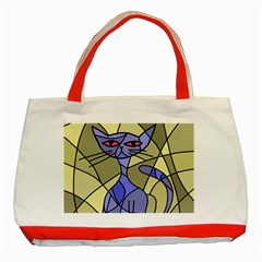 Artistic Cat   Blue Classic Tote Bag (red) by Valentinaart