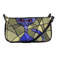 Artistic Cat   Blue Shoulder Clutch Bags by Valentinaart
