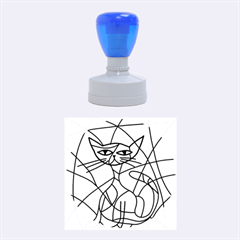 Artistic Cat   Blue Rubber Round Stamps (medium) by Valentinaart