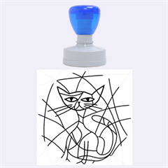 Artistic Cat   Blue Rubber Round Stamps (large) by Valentinaart