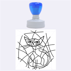 Artistic Cat   Purple Rubber Round Stamps (large)