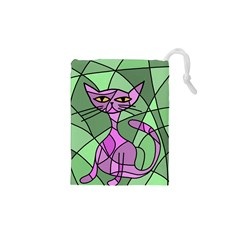 Artistic Cat   Purple Drawstring Pouches (xs)  by Valentinaart
