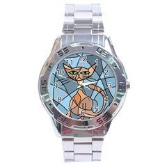 Artistic  Cat   Orange Stainless Steel Analogue Watch by Valentinaart
