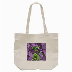 Artistic Cat   Green Tote Bag (cream) by Valentinaart