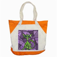 Artistic Cat   Green Accent Tote Bag by Valentinaart