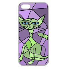 Artistic Cat   Green Apple Seamless Iphone 5 Case (clear) by Valentinaart