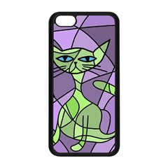 Artistic Cat   Green Apple Iphone 5c Seamless Case (black) by Valentinaart