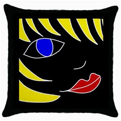 Blond Girl Throw Pillow Case (black) by Valentinaart