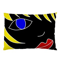 Blond Girl Pillow Case (two Sides) by Valentinaart