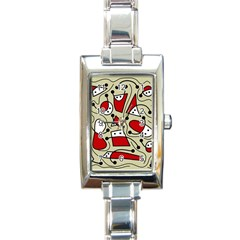 Playful Abstraction Rectangle Italian Charm Watch by Valentinaart