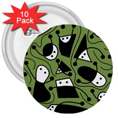 Playful Abstract Art   Green 3  Buttons (10 Pack)  by Valentinaart