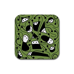 Playful Abstract Art   Green Rubber Square Coaster (4 Pack)  by Valentinaart
