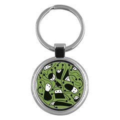 Playful Abstract Art   Green Key Chains (round)  by Valentinaart