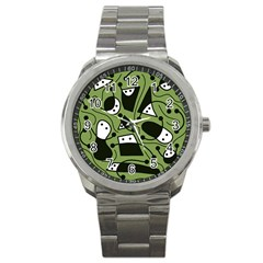 Playful Abstract Art   Green Sport Metal Watch by Valentinaart