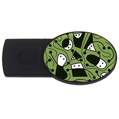 Playful Abstract Art   Green Usb Flash Drive Oval (4 Gb)  by Valentinaart