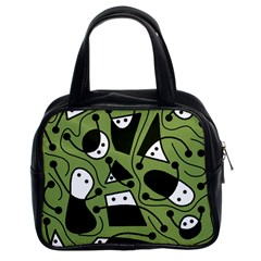Playful Abstract Art   Green Classic Handbags (2 Sides) by Valentinaart