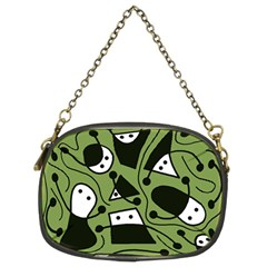Playful Abstract Art   Green Chain Purses (two Sides)  by Valentinaart