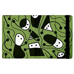 Playful Abstract Art   Green Apple Ipad 2 Flip Case by Valentinaart